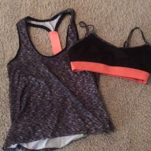Work out shirt with matching sports bra